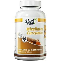 HEALTH+ mizellares Curcumin | Höchste Verwertbarkeit | Wasser- und Fettlöslich | 60 Kapseln