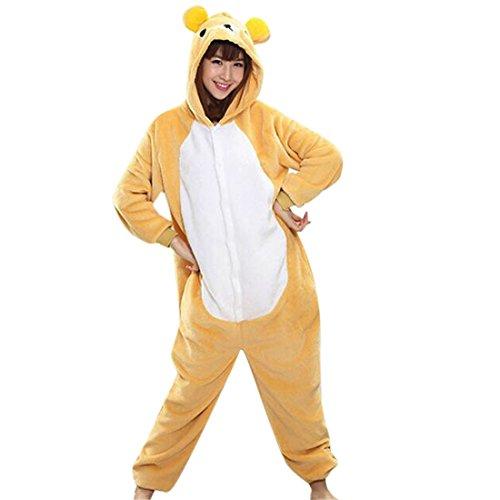 QIYUN.Z Unisexe Animal De Bande Dessinee Adulte Kigurumi Pyjama Doux Costume Cosplay De Vetements De Nuit Chaude (L, Ours Jaune)