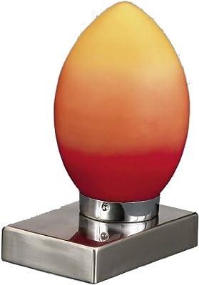 Trio Tischleuchte Touch me Nickel matt Glas orange gelb weiss Höhe 21 cm von Trio - Lampenhans.de