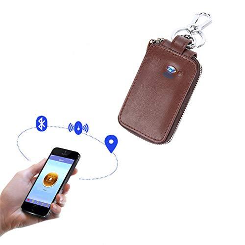 CARGPS GPS Tracker Autoschlüssel Tasche Smart Bluetooth Anti Verloren Brieftasche Haushälterin Multifunktions Reißverschluss Autoschlüssel Fall für Männer Frauen,Brown