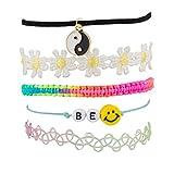 Accesorios Lux de la paz de sonrisa feliz del precio de flores de girasol Tejido caramelo sistema de la pulsera del brazo
