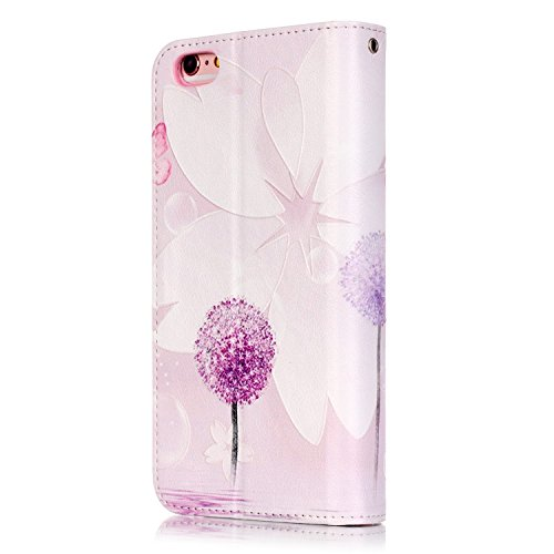 Cover per iPhone 6s Custodia in Pelle Rose,TOCASO Luccichio Diamante Premium di Cuoio del Raccoglitore Cover per iPhone 6/6S Sottile Custodia Stile Libro Portafoglio Colorato Bling Glitzer Flip Wallet Purple Dandelion