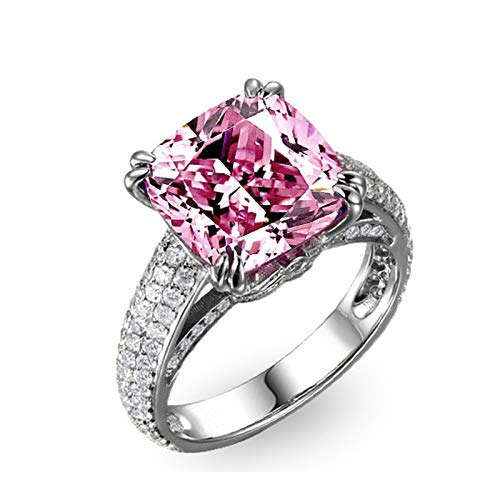 SonMo 925 Sterling Silber Solitär Ring 8,5 Karat Kissen Schneiden Halo Zirkonia CZ Damen Ringe Breit Eheringe Set Silber Größe:47 (15.0) - Und Halo Ring Diamant Aquamarin
