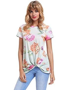 Camiseta de manga corta con diseño floral, color verde claro, para vestir en la parte superior de la blusa, para...