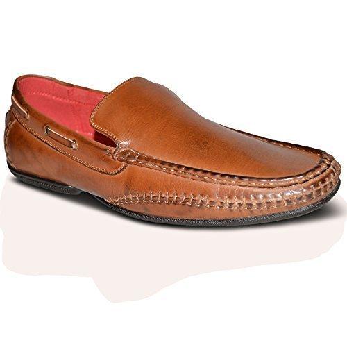 Chinelo Homens Barco 100 Italiano Sapatos De Sapatos Novo Claro Plataforma Couro Giovanni Marrom Sqd5wS