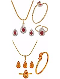 Efulgenz Designer Jewellery Combo Of Red And Orange Pendant With Chain, Earrings, Ring And Bracelet For Girls...