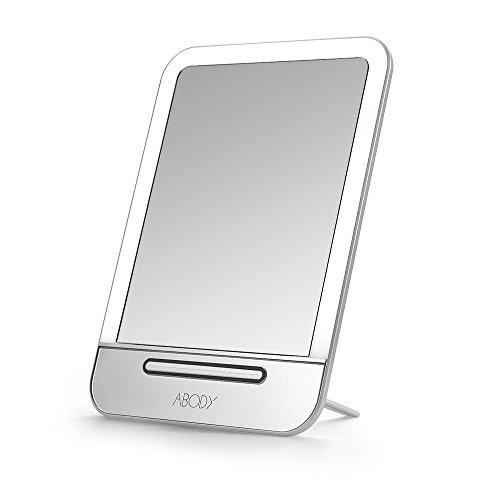 Abody Specchio di Trucco Ricaricabile a LED Illuminato Specchio Cosmetico con Regolabili Impostazioni Smart Touch
