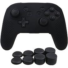 YoRHa Studded Silikon Hülle Abdeckungs Haut Kasten für Nintendo Switch Pro Controller x 1 (schwarz) Mit Pro aufsätze thumb grips x 8