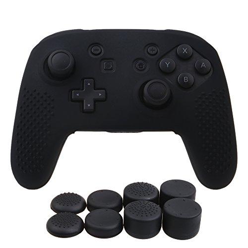 Preisvergleich Produktbild YoRHa Studded Silikon Hülle Abdeckungs Haut Kasten für Nintendo Switch Pro Controller x 1 (schwarz) Mit Pro aufsätze thumb grips x 8