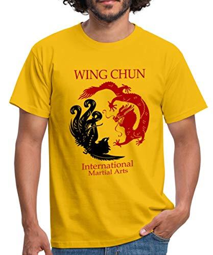 Spreadshirt Wing Chun Dragon Männer T-Shirt, XXL, Gelb -