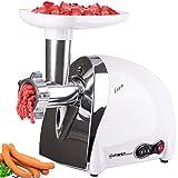 1200 Watt elektrischer Fleischwolf mit Entsafter-Aufsatz für Tomatensaft | 3 Lochscheiben und 1 Wurstfüller | Kebbe-Aufsatz | Edelstahl Messer, Überhitzungsschutz | Rückwärtslauf