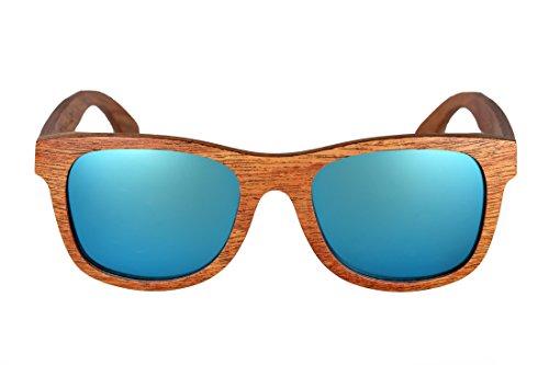 amoloma Holz Sonnenbrille Birnbaum mit matt frozen verspiegelten Gläsern wayfarer Style (Ice Blau...