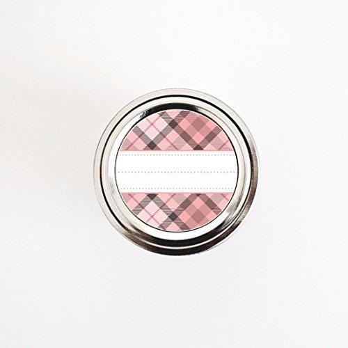 Pink Plaid Muster Aufkleber von Once Upon Supplies, Mehrzweck-Runde Etiketten für die Organisation der Home, Küche & Büro, Party Favor Dichtungen, Urlaub Geschenk Etiketten 2