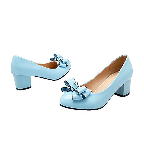 AgooLar Femme Couleur Unie Pu Cuir à Talon Bas Rond Tire Chaussures Légeres Bleu
