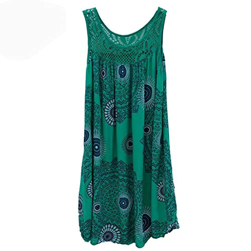 Mode Frauen Sommer Elgant V-Ausschnitt ÄRmellos Boho Streifen Lange Maxi Kleid Abend Party Strand Kleider Cocktailkleid Casual Evening Party Long Dress ()