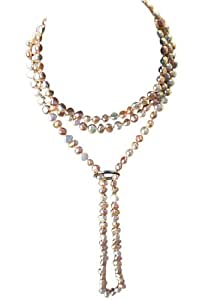 Collier de style Shanghai en perles de culture d'eau douce baroques couleur Pêche/Rose/Blanc long de 135 cm sans fermoir et avec un raccourcisseur en argent massifcarte cadeau.