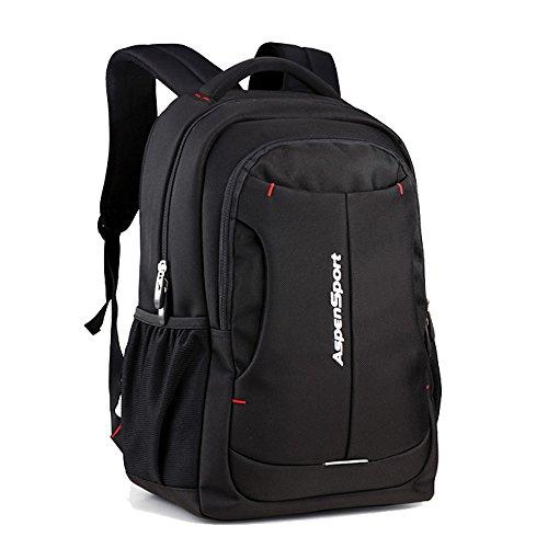 Aspen Notebook-Rucksack mit viel Stauraum 15.6 Zoll Laptop Tasche Herren und Damen Wasserdicht Computer Backpack Schulrucksack Tagesrucksack Arbeitrucksack 30L Schwarz AS-B2601