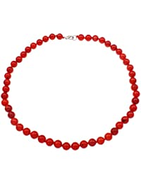 Treasure Bay - Collar de coral rojo natural de 8 mm para mujeres y niñas 1b4d83e1701