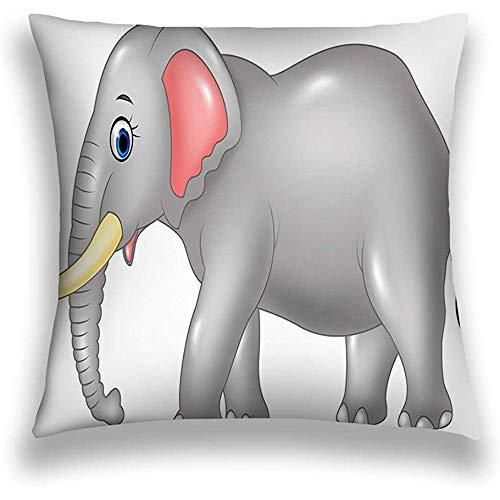 Duang Funda de Almohada Decorativa para el hogar Funda de cojín de poliéster Elefante Africano de Dibujos Animados Aislado Fondo Blanco Geométrico 45X45cm