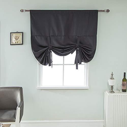 Clothink HxW:140x100cm Raffrollo Schlaufen Gardinen Voile Vorhänge schwarz
