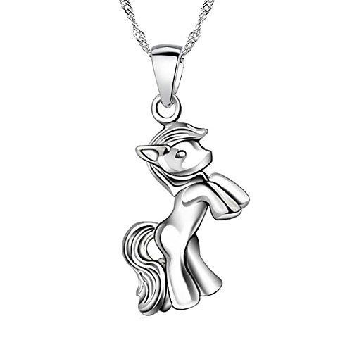 Halskette mit Pferd Anhänger 925 Silber Mädchen Schmuck Pony Pferde Kinder