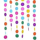 Outus 2 Paquetes 4 Metros Guirnalda de Papel Redonda de Colores Surtidos Puntos de Circulo Decoraciones de Colgante para Fiesta de Cumpleaños Boda