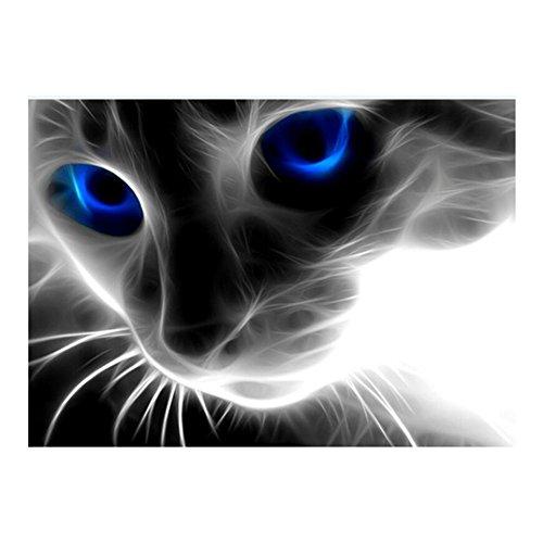 Beautiful 5D DIY Handmade Vivid Cat Design Round Diamond Embroidery Painting Rhinestone Cross-Stitching Set Mosaic Home Room Decoration Best Gift 42 * 50 cm / 16.54 * 19.69 in
