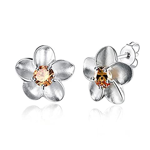 JewelleryClub Pflaume Ohrringe versilbert Swarovski Elements Kristall Citrin Blume Ohrstecker für Damen