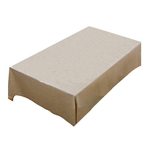 LSHEL Nappe Rectangulaire Imperméable à L'eau de Couleur Unie en Lin 60*60cm Beige