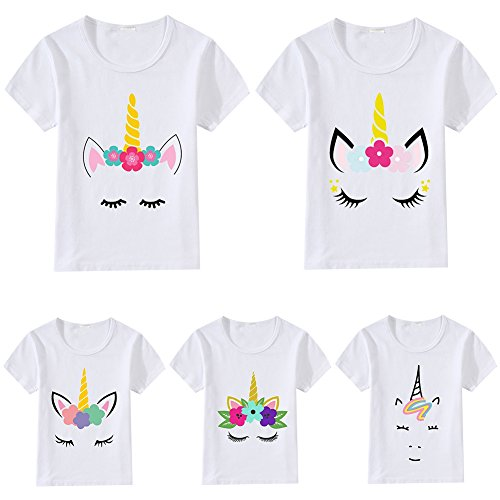 Unicorn T-Shirt Kids Girls Boys White Short Sleeve Cotton Tee Top Toddler Unisex Novelty Summer Casual O Neck Classic Shirt Blouse Pullover Sisters Brothers Matching Clothes For Children Age 2-9 Years