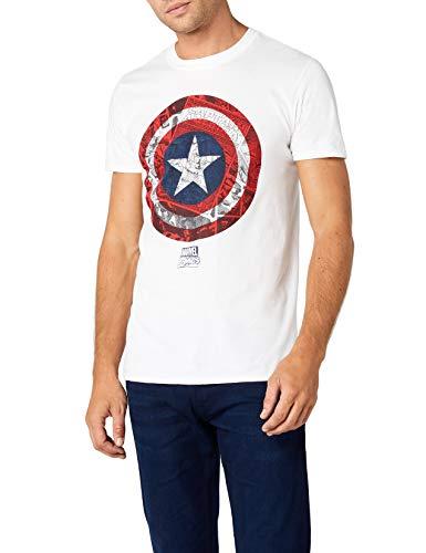 Marvel Herren Ca Comic Shield T-Shirt, Weiß (White WHT), M