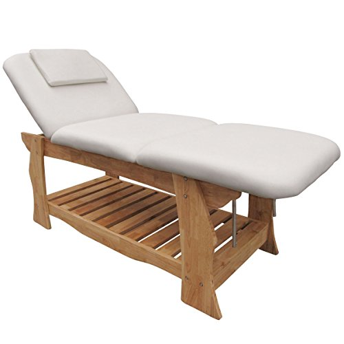 eyepower Spa Massageliege Holz Behandlungsliege Kosmetikliege Massagebank Weiß -