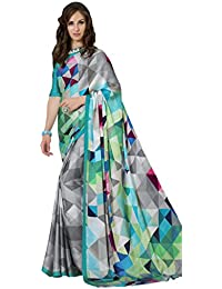 Vastrang Sarees Women's Crepe Saree With Blouse Piece (2257B,Multicolor,Free Size)