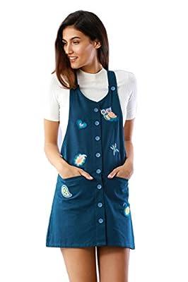 Cherie Navy Blue Button down Pinafore Dress