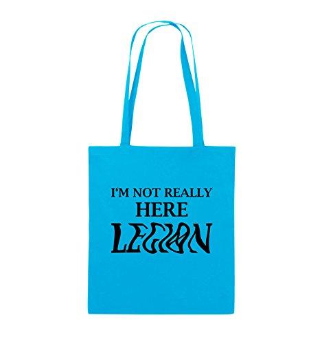 Comedy Bags - I'M NOT REALLY HERE LEGION - LOGO - Jutebeutel - lange Henkel - 38x42cm - Farbe: Schwarz / Silber Hellblau / Schwarz