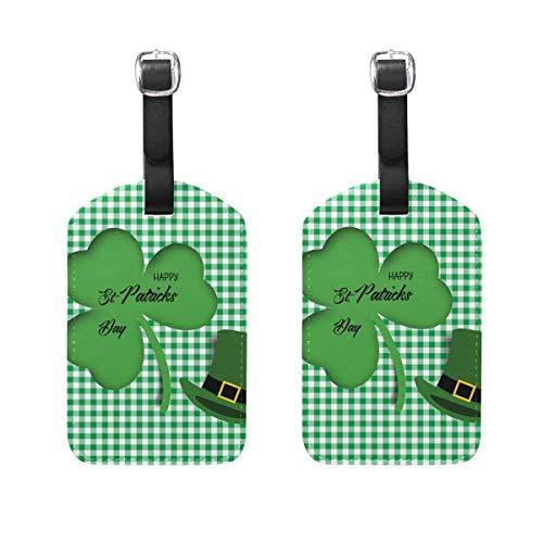 2 PCS Kofferanhänger St. Patrick's Day Hat Clover Plaid Suitcase Labels Travel Accessories