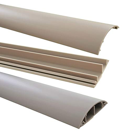 netproshop Fußboden Kabelkanal PVC (Halbrund, Selbstklebend, 70x17mm) (1 Meter), Farbe:Grau