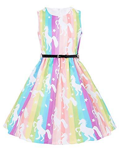 Funnycokid Mädchen Hochzeit Brautjungfer Kleid ärmellose Regenbogen Einhorn Kleider Party Kleid Alter (Regenbogen-hochzeit Kleid)