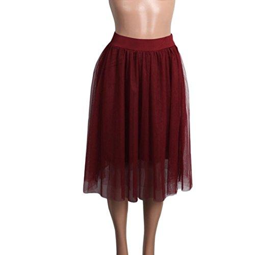 Kanpola Damen Tutu Rock Hohe Taille Plissee Kleider Mini Röcke (M /Gr 38, Rot) (Häkeln Midi-rock)