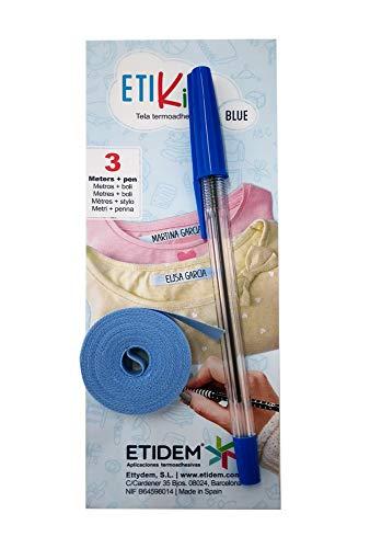 1 Rollo cinta tela 3 metros x 1 cm color Azul. Etiqueta