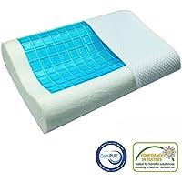 Prime Soft Memory Foam Gel de enfriamiento Almohada Almohadas hipoalergénicas Contorno Dolor Ronquido Migrañas Alivio Con Cubierta Respirable Anti Ácaros Tamaño Antibacteriano 60x40x12 / 10CM