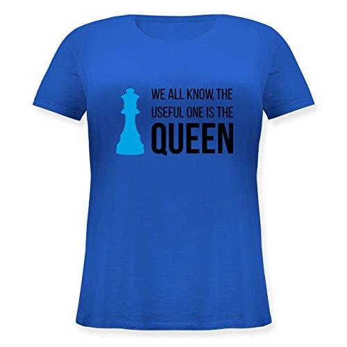 Typisch Frauen - Schach-Damen Queen - Lockeres Damen-Shirt in Großen Größen mit Rundhalsausschnitt Blau