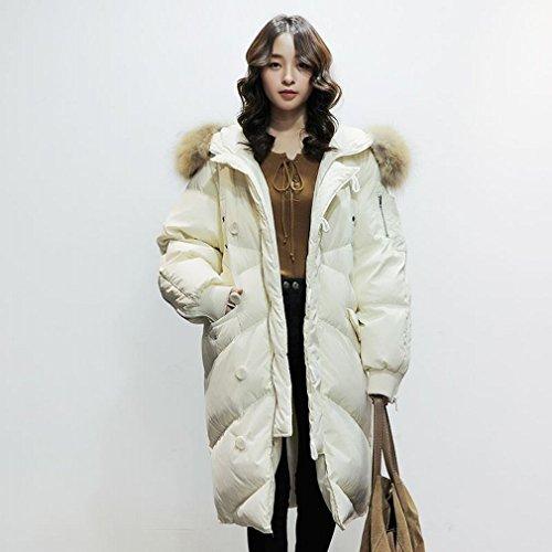 MRX Damen Daunenjacke Mode im Langen AbschniDer Modischen Großen Haarkragen Knie Wintermantel,Weiß,S