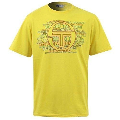 Nuovo Da Uomo Sergio Tacchini Impact T-Shirt Maniche Corte Top Taglia S M L XL XXL - cotone, Giallo, 100% cotone 40% di sconto, Uomo, M