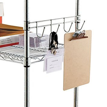 Alera SW59HB418SR Hook Bars For Wire Shelving 4 Hooks 18 w Silver 2 Pack -