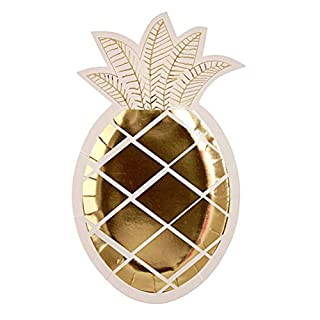 BESTOYARD Einweg Pappteller Ananas Shaped Party Supplies Gold Stempeln Essen Platte 8Pcs