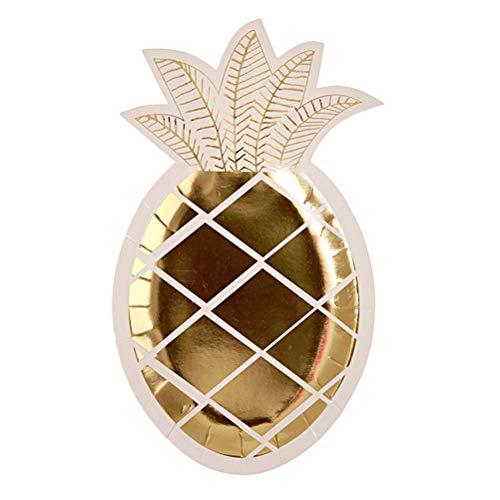 (BESTOYARD Einweg Pappteller Ananas Shaped Party Supplies Gold Stempeln Essen Platte 8Pcs)