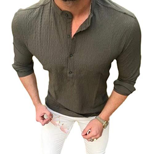 Manica lunga camicia per uomo tinta unita collo coreano camicie bottoni casual camicia moda autunno primavera shirts tops taglie forti
