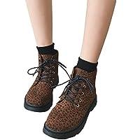 Geili Damen Schnürstiefeletten mit Niedriger Blockabsatz Modern Leopard Muster Boots Frauen Warm Gefüttert Winterstiefel... preisvergleich bei billige-tabletten.eu