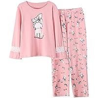 DUKUNKUN Pink Pyjama Sets Imprimir Cute Lace Sweet 2 Piezas Set Elastic Waist Knitting Cotton-L